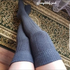 Dark gray thigh high socks